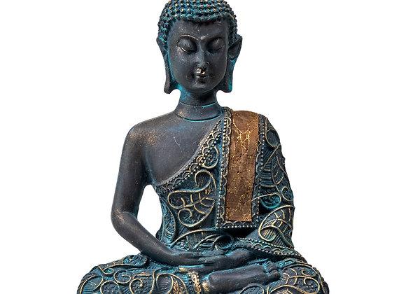 Bouddha en méditation finitions antiques