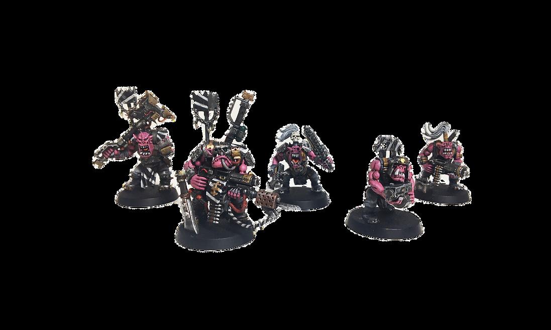 Orc miniaturen geschilderd door Pink Orc Studios