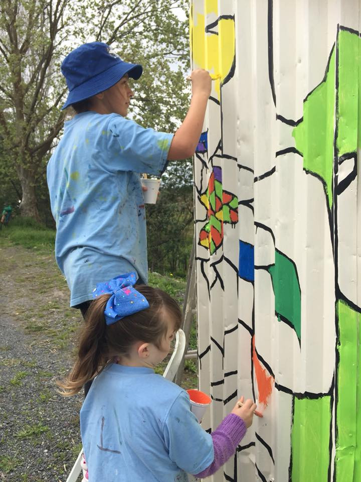 Painting the Bus Shelter at Takahiwai