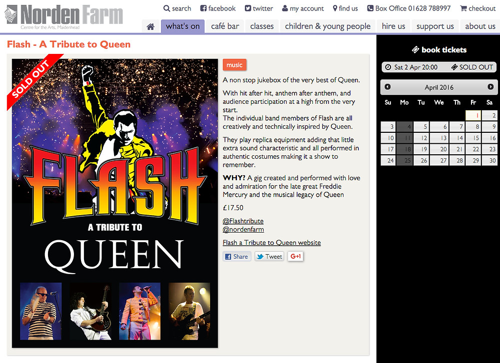 Flash Queen Tribute Band Poster Norden Farm Sold Out