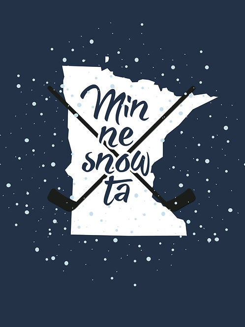 Hockey and Snow Minne-snow-ta Print 16x20