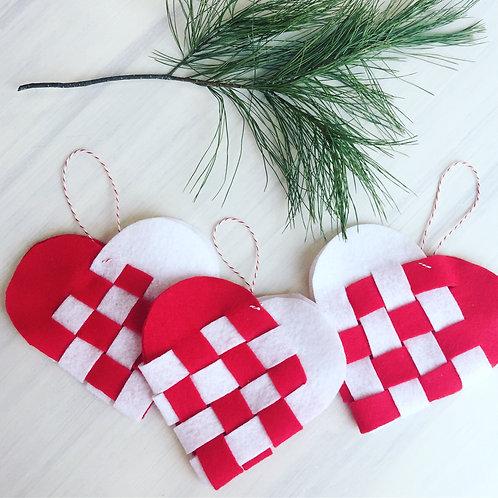 Scandinavian Woven Heart Ornaments