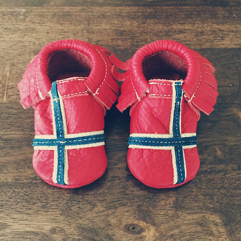 Norwegian Flag Leather Baby Moccasins