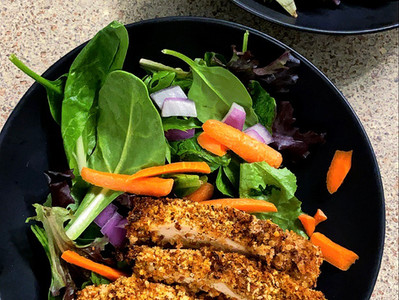 Spring Mix Salad With Air Fryer Breaded Chicken