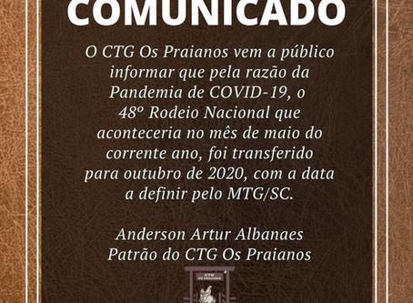 Comunicado - Transferência do Rodeio
