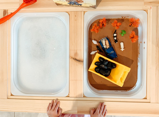 little blue truck: a chocolate oobleck sensory bin