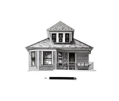 detroit house art - detroit architectural illustration - architecture drawing - detroit house portrait
