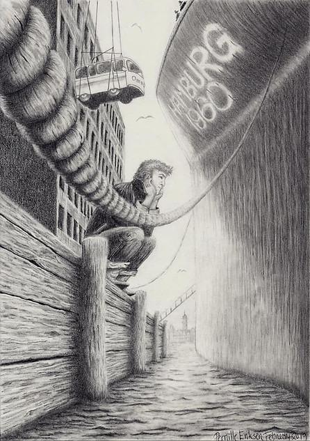 THE BEATLES ILLUSTRATION:  THE BEATLES IN HAMBURG, 1960 - VIEW >