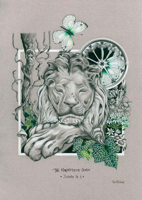 Botanical Art | Botanical Print | Botanical Illustration | Urban Jungle | London | London Art | Lion | Lion Art | Victorian |