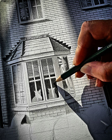 london house art - london architectural illustration - architecture drawing - london house portrait