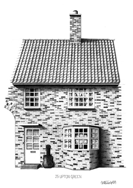 THE BEATLES ART PRINT: GEORGE HARRISON'S LIVERPOOL HOME - VIEW >