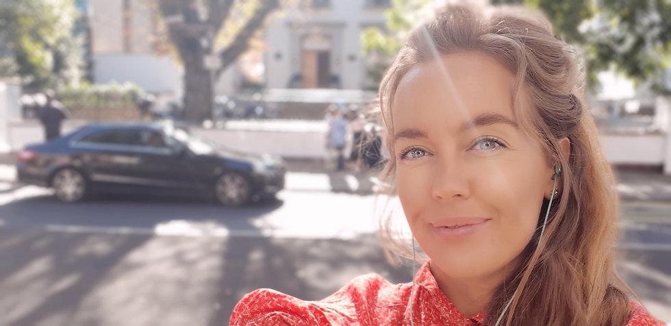 Pernille Eriksen outside Abbey Road Studios
