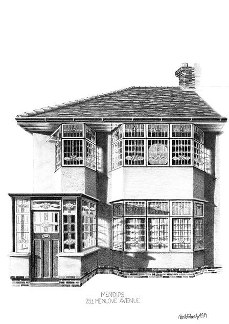 THE BEATLES ART PRINT: JOHN LENNON'S LIVERPOOL HOME - VIEW >