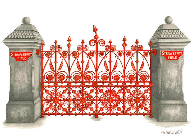 THE BEATLES ART PRINT: STRAWBERRY FIELDS - VIEW >