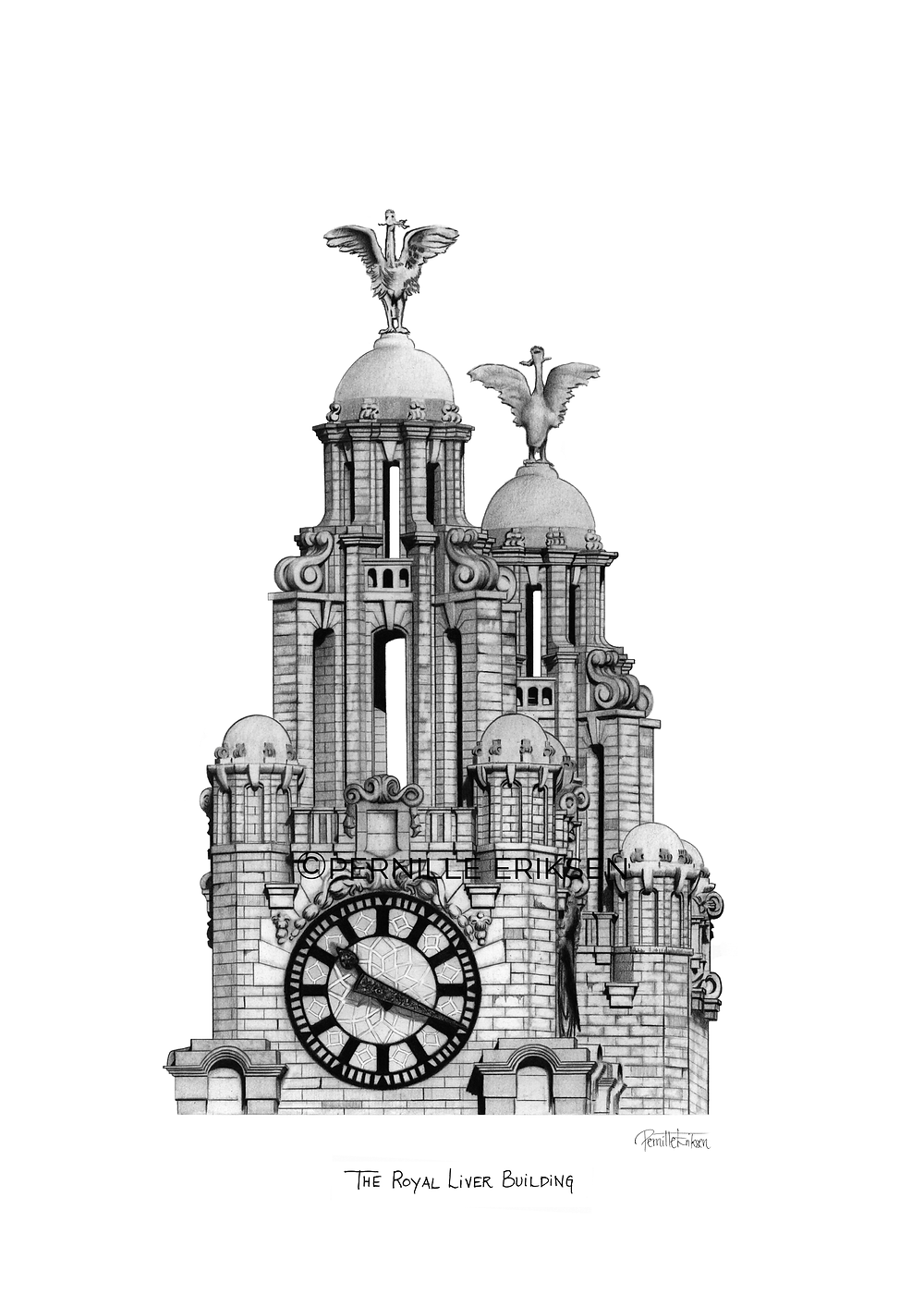 Liverpool pencil drawing featuring my architectural illustration of the Royal Liver Building, one of the Three Graces on Liverpool's waterfront.