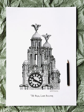 Royal Liver Building Art Poster Print from my collection of Liverpool City Art Poster Prints