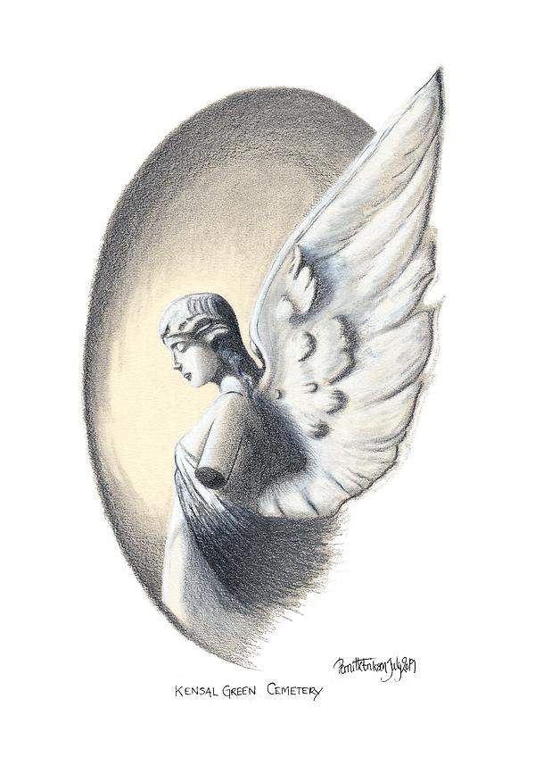Angel Fine Art Print   Guardian Angel Poster   Victorian Art Print   Angel Gift   Cemetery Angel   London Print   Kensal Green Cemetery