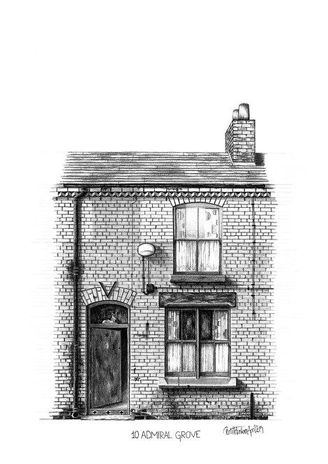 Beatles Art Print | Ringo Starr | The Beatles Liverpool Home | Architectural Art Print | Liverpool Art Print | Beatles Gift