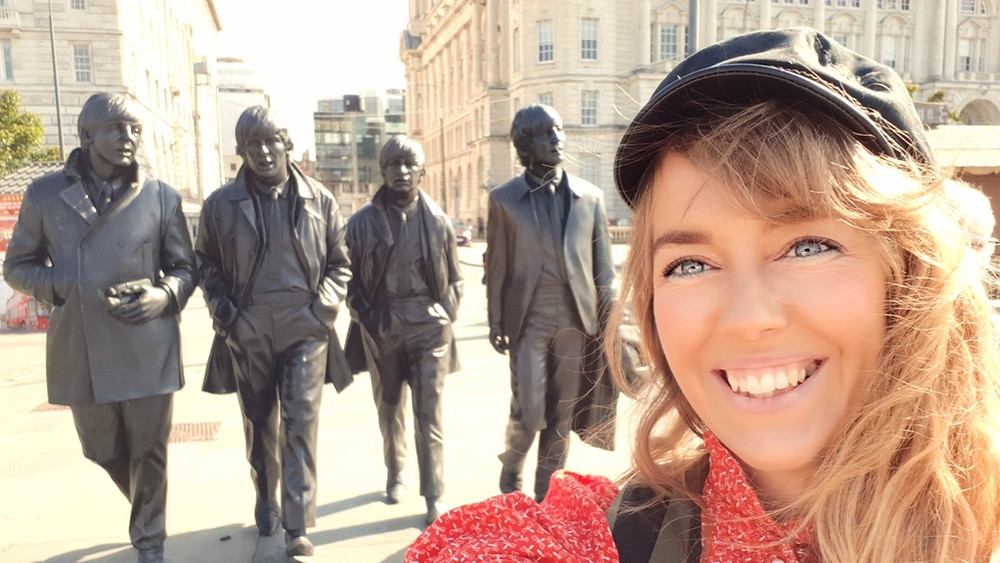 The Beatles statue by Pier Head in Liverpool