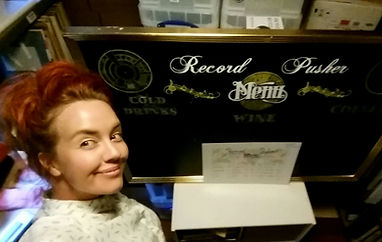 Handpainted signs for record shop RecordPusher