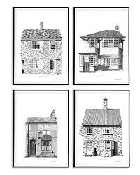 Beatles Art Print   John Lennon   The Beatles Homes   Architectural Art Print   Liverpool Art Print   Beatles Gift   Liverpool Gift