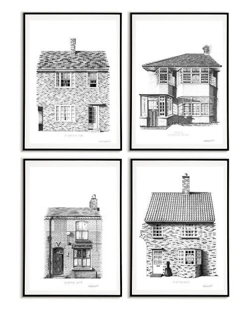 The Beatles Homes | The Beatles Art Prints | Beatles Art Set | Liverpool Art Prints | Beatles Gift | Liverpool Gift