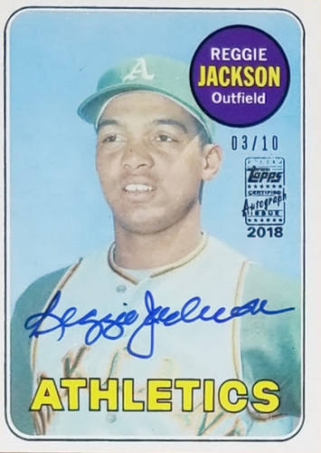 Reggie Jackson 1969 Topps RC Buyback Auto /10 - Pulled from 2018 Heritage