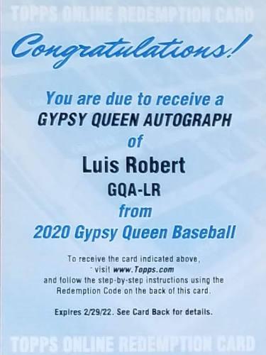 Luis Robert 2020 Gypsy Queen Auto