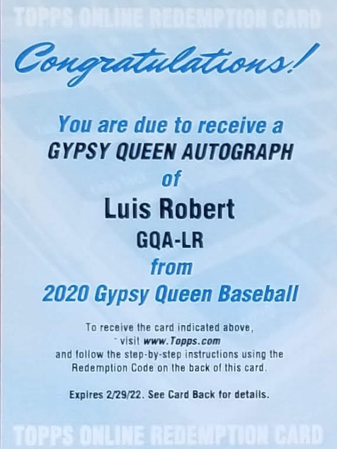 Luis Robert 2020 Gypsy Queen Auto