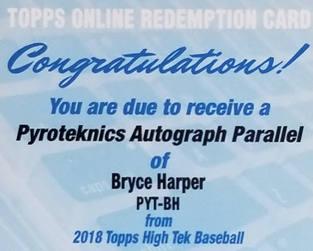 Bryce Harper 2018 Topps High Tek Pyroteknics Redemption