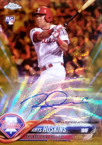 Rhys Hoskins 2018 Topps Chrome Gold Wave Refractor Auto RC /50