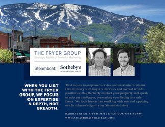 Marketing and design for Sotheby's Fryer Group in Steamboat Springs, Colorado. Print-ready file creation.