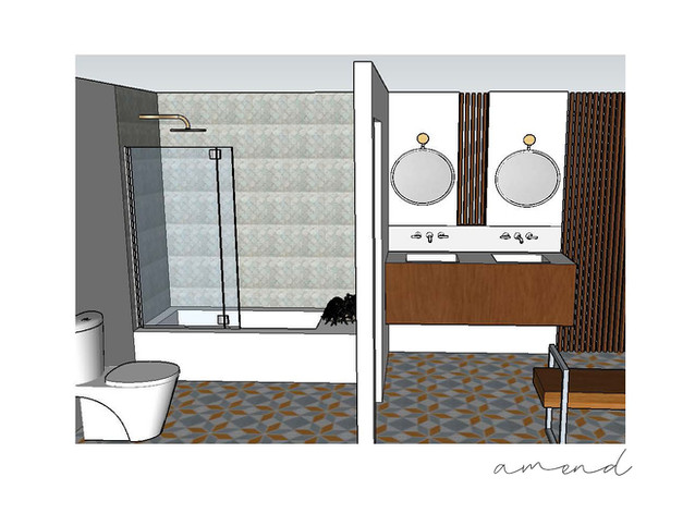 Master bath design and technical drawing creation.