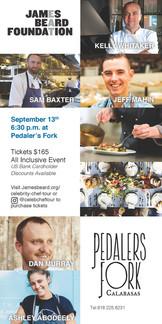 Restaurant check insert design for James Beard Foundation fundraising event in Calabasas, California.