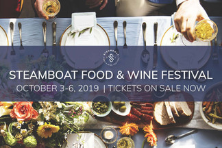 Promotional postcard design for Steamboat Food and Wine Festival.