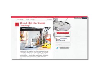 Marketing engagement campaign: blog creation and content management, where All-Clad partnered with celebrity chefs to judge blogger slow cooker recipes.