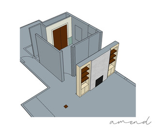 Elevation drawings for built-in shelving and direct vent gas fireplace.