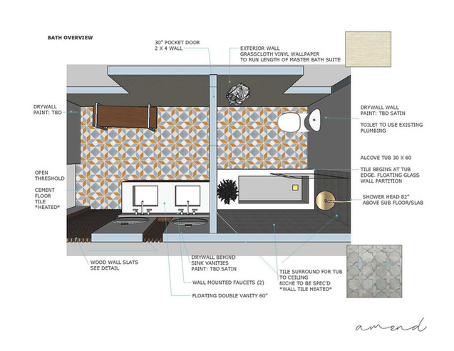 Master bath design layout + technical drawing.
