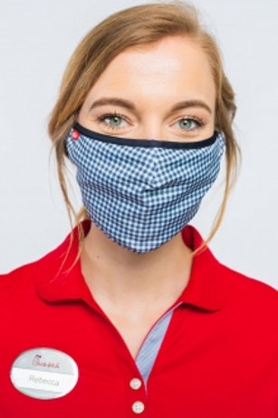 Odessa Adjustable Face Covering - Navy Gingham