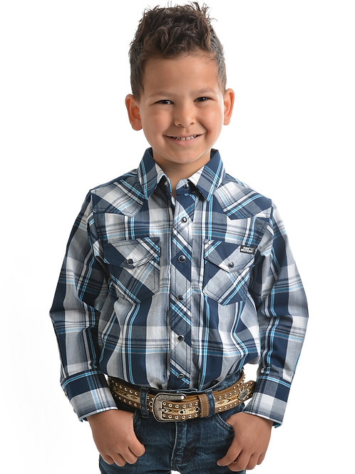 Pure Western Boys Preston Check L/S Shirt
