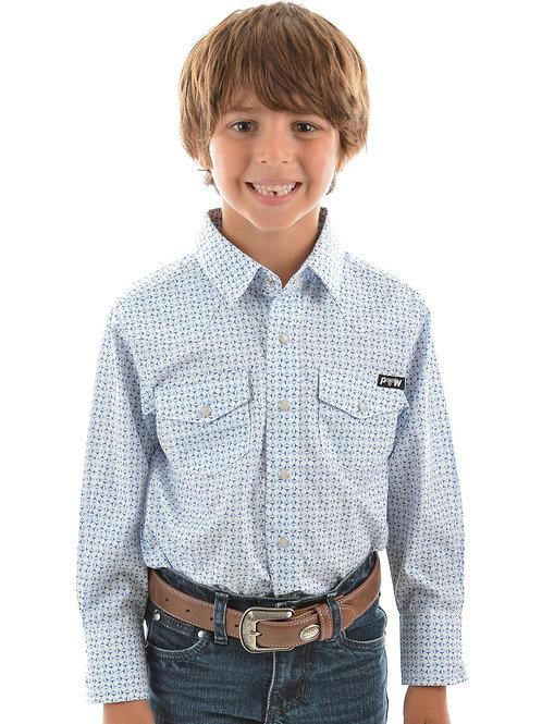 Pure Western Boys Bull Head Print L/S Shirt