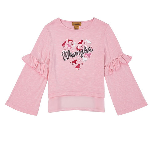 Wrangler Girls Pink Horse Ruffle Long Sleeve Top