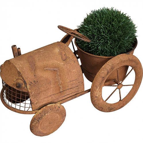 Lavida Rust Tractor With Plant Holder