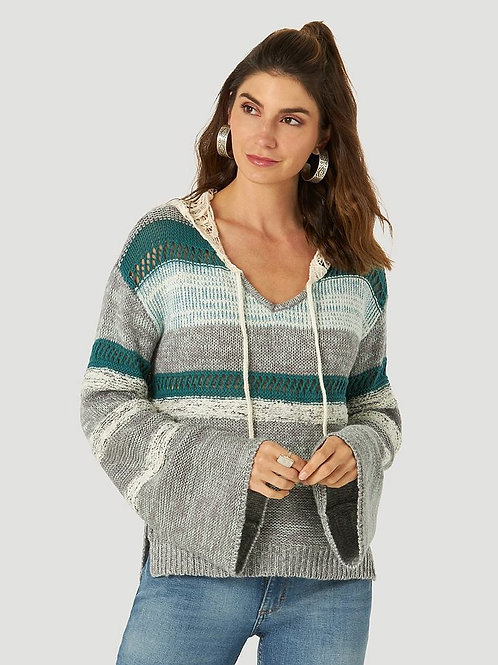 Wrangler Womens Retro Long Sleeve Lace Hood Crochet Pullover