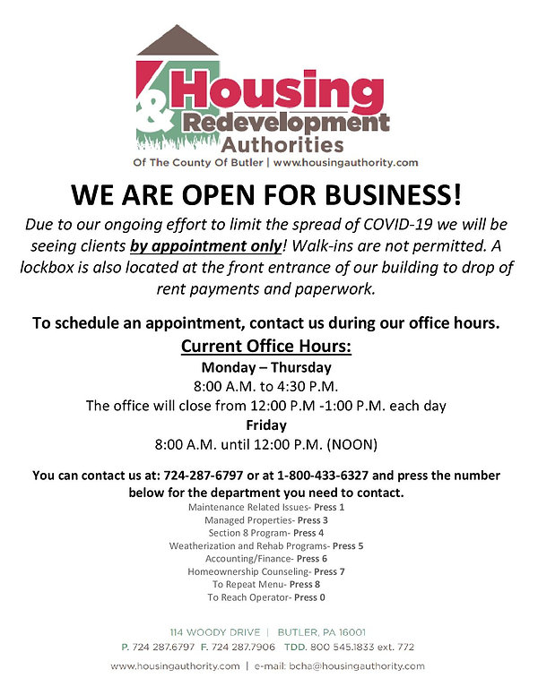 Housing Authority Open for Business Appo