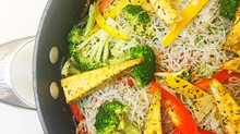 Italian Vegan Vegetable Vermicelli Noodles with Cheesy Tofu Wedges
