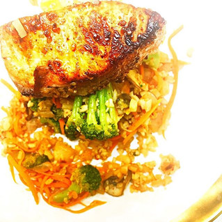 Grilled Salmon over Cauliflower Fried Rice