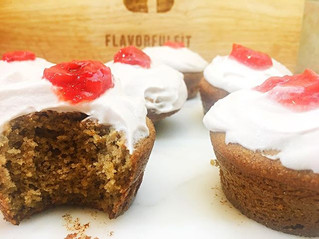 Almond Muffins with Cream Frosting and Fresh Berry Jam