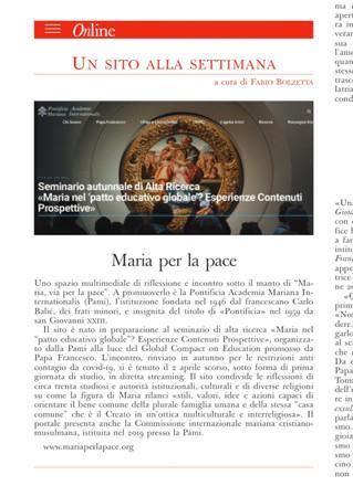 """L'Osservatore Romano segnala il nostro sito """"Maria per la pace"""""""