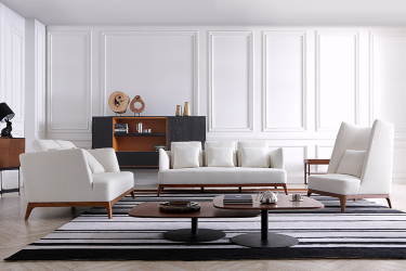 White Couch with Wooden Legs
